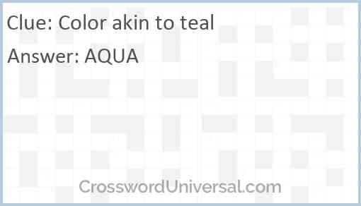 Color akin to teal Answer