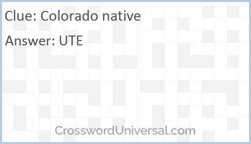 Colorado native Answer