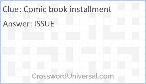Comic book installment Answer