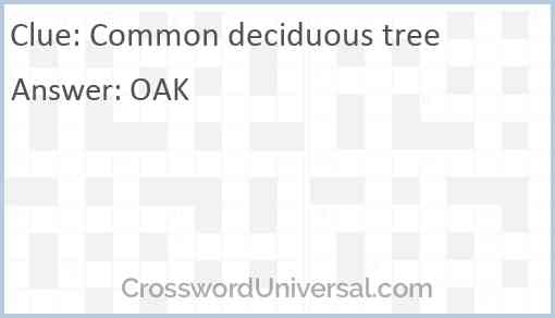 Common deciduous tree Answer
