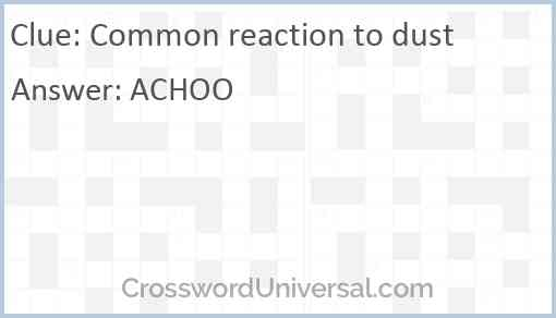 Common reaction to dust Answer