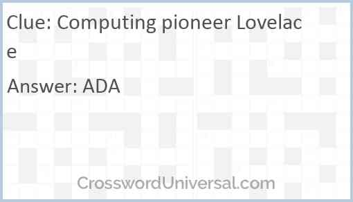 Computing pioneer Lovelace Answer
