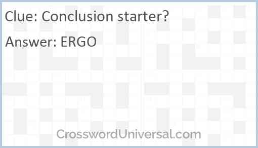 Conclusion starter? Answer