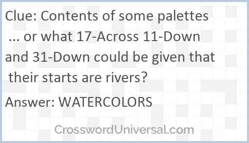 Contents of some palettes ... or what 17-Across 11-Down and 31-Down could be given that their starts are rivers? Answer