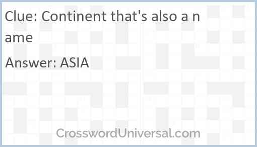 Continent that's also a name Answer