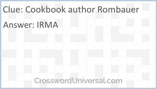 Cookbook author Rombauer Answer