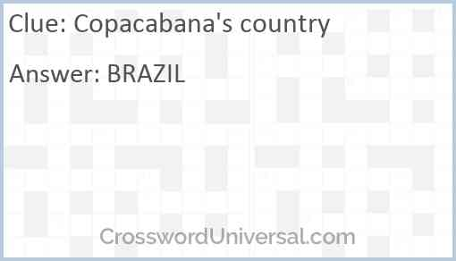 Copacabana's country Answer
