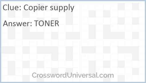 Copier supply Answer
