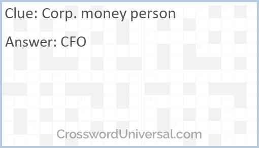 Corp. money person Answer