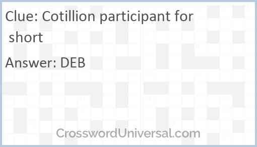 Cotillion participant for short Answer