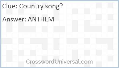 Country song? Answer