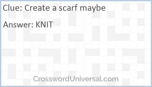 Create a scarf maybe Answer