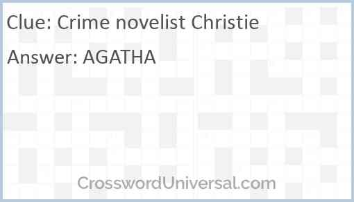 Crime novelist Christie Answer