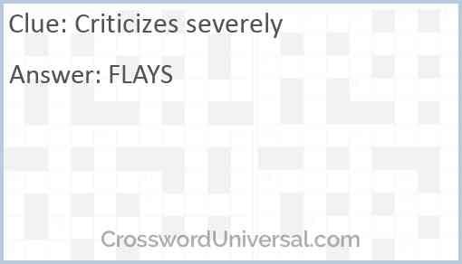 Criticizes severely Answer