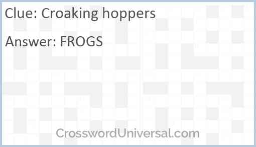 Croaking hoppers Answer