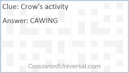 Crow's activity Answer