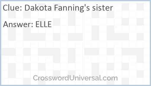 Dakota Fanning's sister Answer