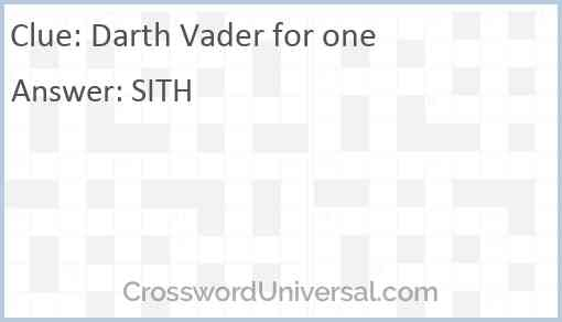 Darth Vader for one Answer