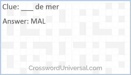 ___ de mer Answer