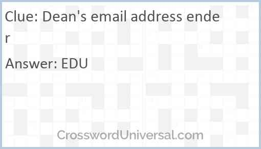Dean's email address ender Answer