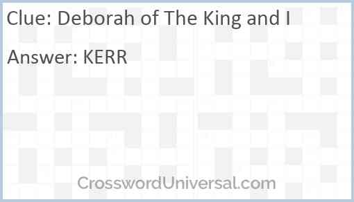 Deborah of The King and I Answer