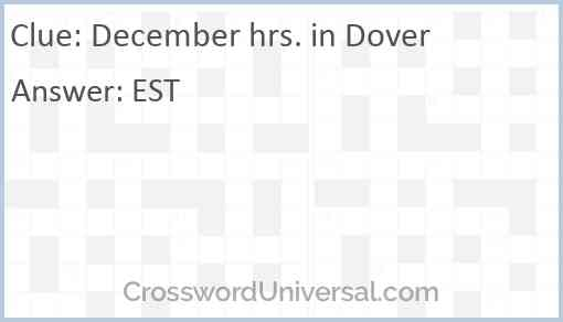 December hrs. in Dover Answer