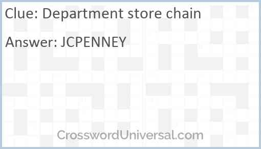 Department store chain Answer