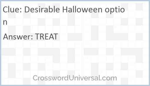 Desirable Halloween option Answer