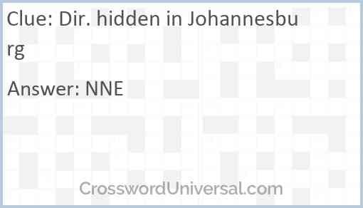 Dir. hidden in Johannesburg Answer