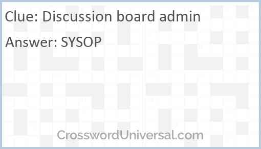 Discussion board admin Answer