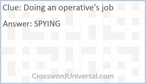 Doing an operative's job Answer