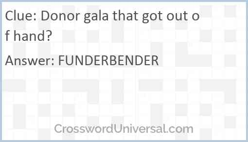 Donor gala that got out of hand? Answer