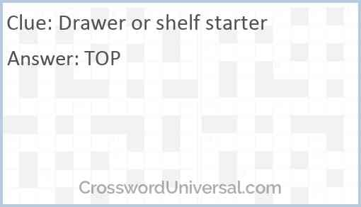 Drawer or shelf starter Answer