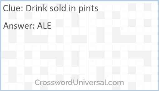 Drink sold in pints Answer