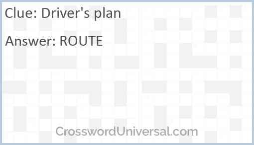 Driver's plan Answer