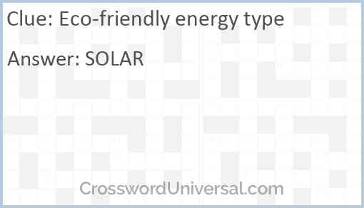 Eco-friendly energy type Answer