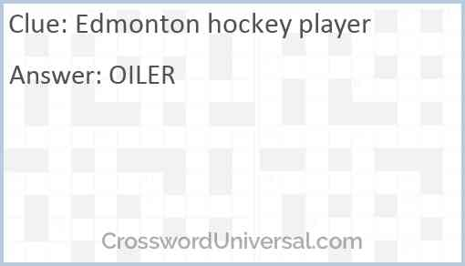 Edmonton hockey player Answer
