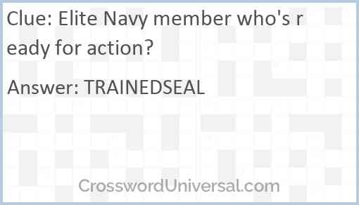 Elite Navy member who's ready for action? Answer