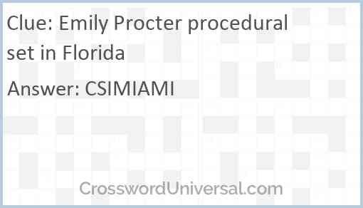 Emily Procter procedural set in Florida Answer