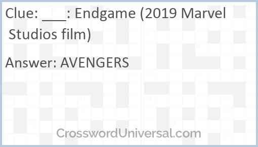 ___: Endgame (2019 Marvel Studios film) Answer