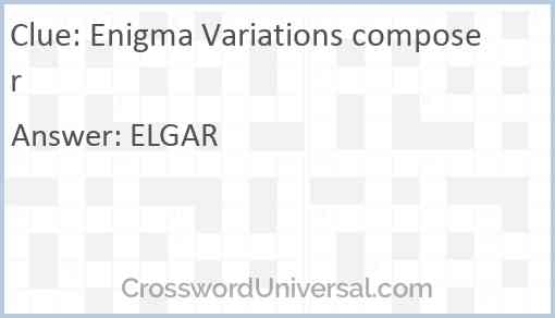 Enigma Variations composer Answer