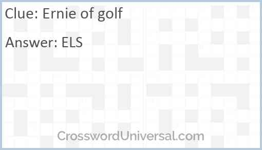 Ernie of golf Answer