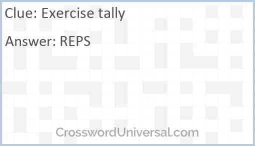 Exercise tally Answer