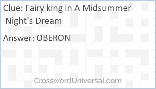 Fairy king in A Midsummer Night's Dream Answer
