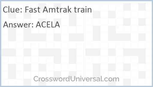 Fast Amtrak train Answer