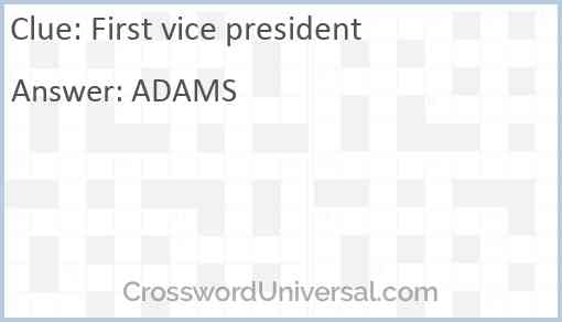 First vice president Answer