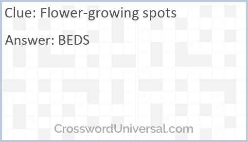 Flower-growing spots Answer