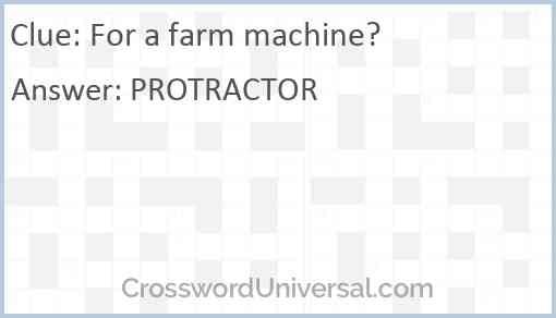 For a farm machine? Answer