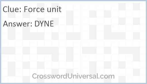 Force unit Answer