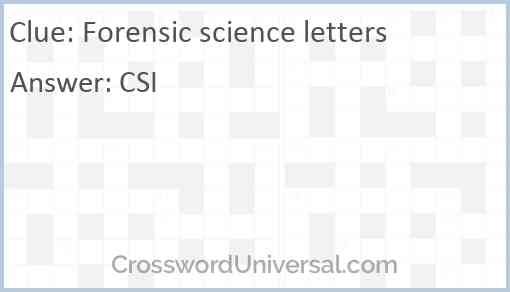 Forensic science letters Answer